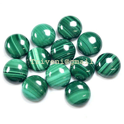 14 Mm / 30 Pc Natural Malachite A++ Quality Round Shape Cabochon Gemstones Lot