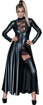 Sexy Damen Wetlook Mantelkleid Kleid Langes Gr. S M L XL schwarz Leder 276031210