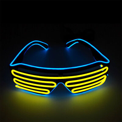 El Wire Rave Club Party LED Sound Control Light Up Glow Sunglasses Neon Glasses