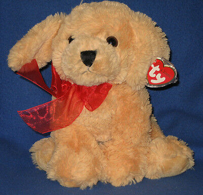 TY CLASSIC PLUSH - GOLDWYN THE DOG – RED BOW – MINT  with MINT TAGS