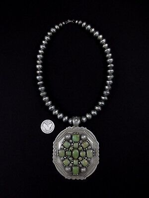 Navajo Necklace - Sterling Silver and Turquoise - D. Cadman