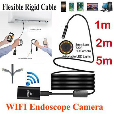 WIFI 8 Led Rigid Endoscope Borescope Snake Inspection Camera For Android Iphone