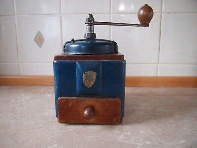 Peugeot Freres Coffee Grinder Blue Metal / Wood 1940/50's