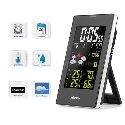 Wireless Weather Station Clock Temperature Humidity Meter Color LCD Backlit C8T6