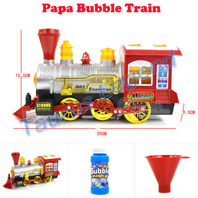 Battery Operated Papa Bubble Train Engine Music Lights Christmas Gift Kid Toy