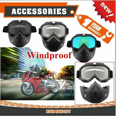 Detachable Modular Motorcycle Bike Helmet Anti-UV Goggles Shield Face Mask GT