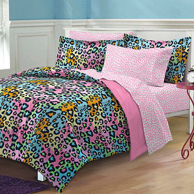 New Neon Leopard Complete Bed In A Bag Bedding Set Pink/Multi 100% polyester