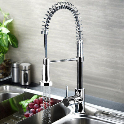 Kitchen Sink Mixer Tap Spring 360° Rotation Swivel Lever Pull Out Spray Chrome