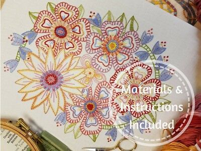 Traditional Embroidery Kit;'Follow On Florals'(SOFT)Advanced beginners/Returners