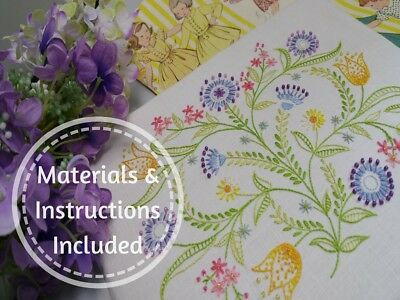 Traditional Transfered Embroidery Kit : Dotty Brights ; Kits by Maggie Gee