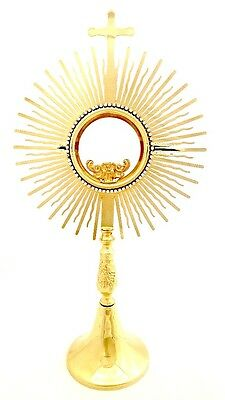 "16.3"" 24 K Gold Plated Brass Monstrance + Luna for Altar Church-MADE IN ITALY"