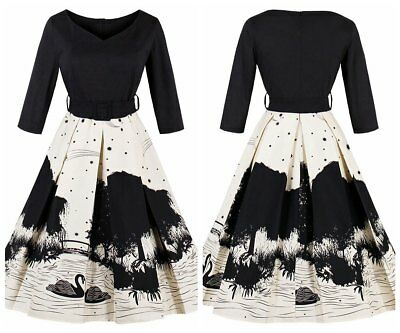 Women's Vintage Swan V Neck Style Rockabilly Evening Party Prom Swing Dresses
