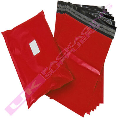 """200 x SMALL 10x14"""" RED PLASTIC MAILING SHIPPING PACKAGING BAGS 60mu SELF SEAL"""