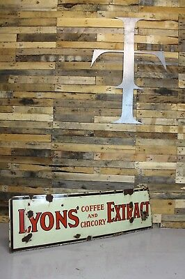 A Large Vintage Antique Mid-Century Advertising Lyons Coffee Extract Enamel Sign