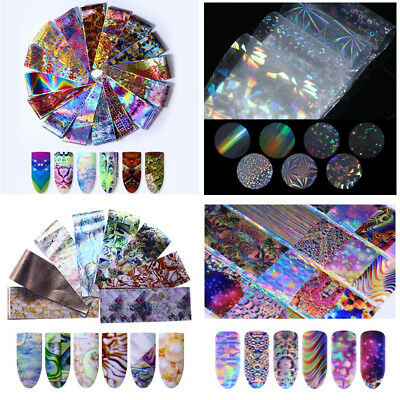 Holographic Flower Nail Foil Nail Art Decor Panda Transfer Stickers Decals Tips