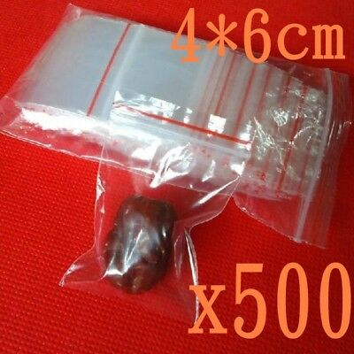 500x……Small Zip Lock Plastic Bags Reclosable Resealable Zipper Clear 4X6cm Thick