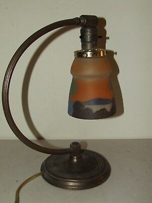 Vintage 1920s Chase Brass Art Deco Boudoir Table Lamp w/Hand Painted Glass Shade