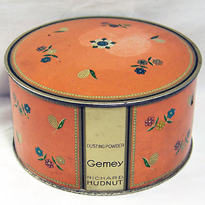 Vintage Tin Richard Hudnut Floral Gemey Dusting Powder Empty Can Container