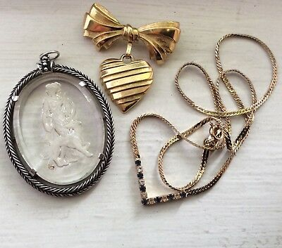 AVON LOT - Diana Glass Intaglio, Mothers Bow, Faux Sapphire Necklace Vintage