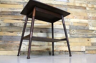Vintage Antique Edwardian Mahogany Turned Leg Two Tier Table