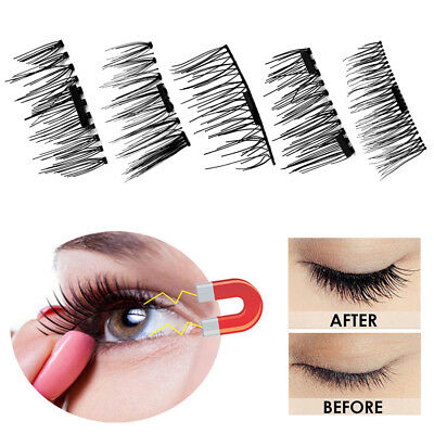 4pcs Magnetic Eyelashes Handmade Reusable False Magnet Lashes Extension Natural