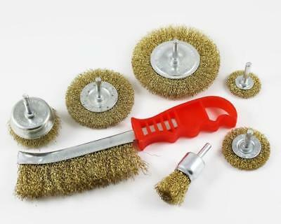 Heavy Duty 7Pc Drill Wire Wheel Cup Flat Brush Metal Cleaning Rust Sanding Set