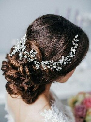 Missgrace Bridal Crystal Long Wedding Hair Vine Accessories Classic Silver,New..