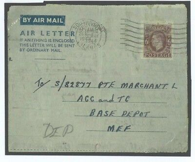 E242 WW2 Great Britain Cover 1944 Air Letter 6d Solid Address Lines/Depot MEF