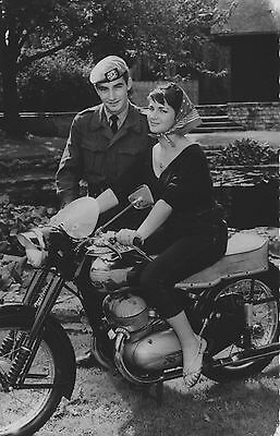 Motorcycle soldier and girl real photo postcard Ca 1950's