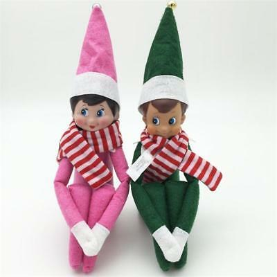 2pcs On The Shelf Figure Elf Christmas Green Boy pink Girl with scarf Toys Doll