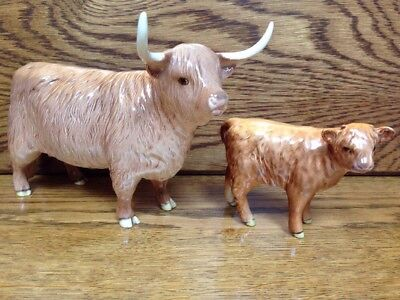 Very Rare Beswick Long Horn Highland Cattle Ornament Set Cow Calf Boxed