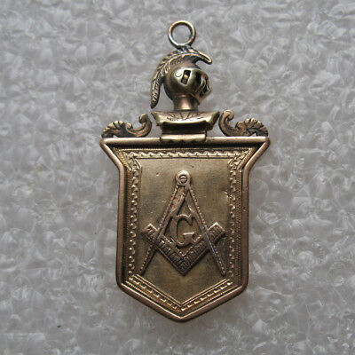 Antique Masonic Watch Fob Castle Scene Square & Compass Gold Filled