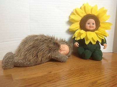 Lot 2 ANNE GEDDES Plush Dolls HEDGEHOG & SUNFLOWER Cute & CLEAN Nice Condition!