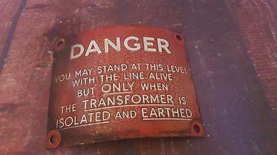 Vintage Old Curved Danger Enamel  Advertising Sign  Display Man Cave Pub Bar