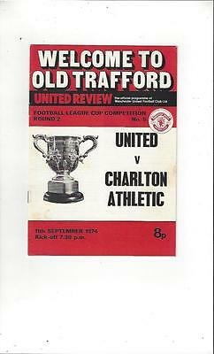 Manchester United v Charlton Athletic League Cup 1974/75 Football Programme