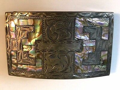 Plata De Jalis Co Mexico Inlay Mother Of Pearl & Sterling Silver Belt Buckle