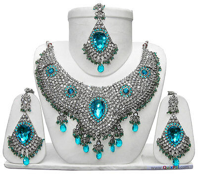 Handmade Silver Plated Indian Kundan Jewelry Necklace Earrings Sets Varied Style