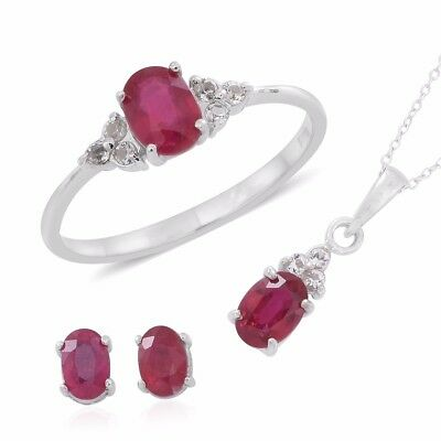 niassa ruby white topaz sterling silver earrings ring (6) and pendant w/chain