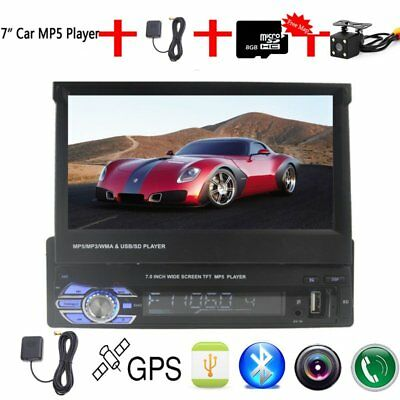 "1 DIN Car MP5 Player 7"" Autoradio Stereo GPS Sat Navi BT USB+ MAP+Rückfahrkamera"