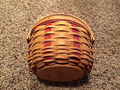 Longaberger Small Award Basket with Red Weave and Swinging Handle