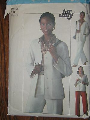 7615 Vintage Simplicity Sewing Pattern Misses JIFFY Unlined Cardigan Pants