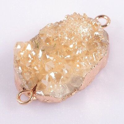 Uneven Natural Agate Titanium Druzy Connector Rose Gold Plated T037310