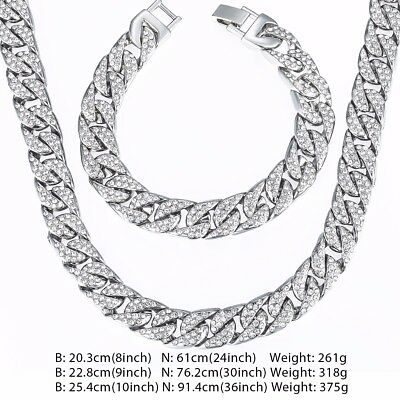 Curb Cuban Mens Necklace Bracelet Chain Set White Gold Filled GF Iced Out 14mm