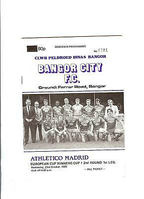 Bangor City v Ath Madrid European Cup Winners Cup Football Programme 1985/86
