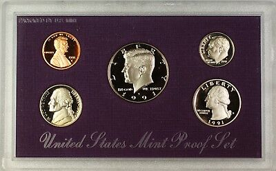 1991 US Mint 5 Coin Proof Set as Issued In OGP With Box and COA