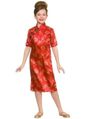 Geisha Girl Costume Chinese Japanese Fancy Dress Asian Oriental Kimono Ages 5-10