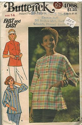 4068 Vintage Butterick Sewing Pattern Misses Loose Fitting Pullover Tops Fast 14