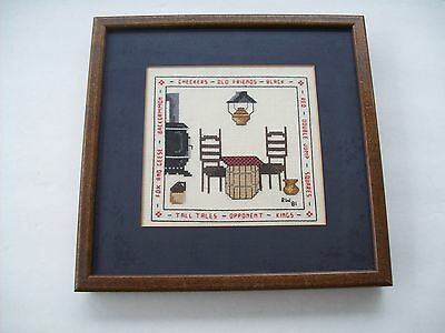 Vintage 1981 Old Fireplace Stove Checkers Sampler Embroidery Sewing Framed-Euc