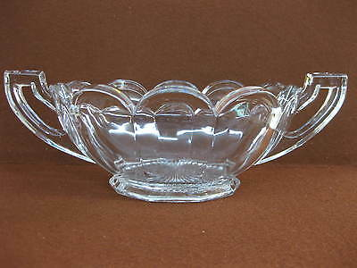 Vintage Chippendale Pressed Glass Bowl / Dish With Handles ~ Art Deco