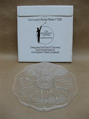 Vintage Dartington Glass Pansy Platter by Frank Thrower ~ Cheese / Cake Plate